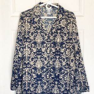"""""""SILKY"""" TUNIC CATHERINE'S LONG SLEEVE BUTTON DOWN"""